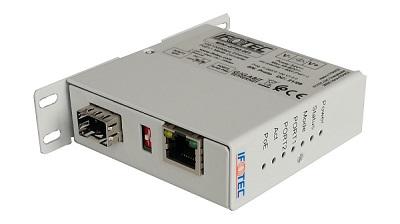 Convertisseur de média Gigabit industriel  PoE++ (PSE) - 1 port cuivre PoE 90W et 1 port SFP.  Boitier miniature - Fonction injecteur PoE